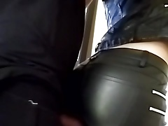rubbering my cock with gal in leather