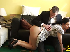 English slave cockriding after getting
