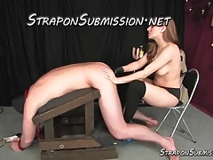 Mind-blowing stripped to the waist Domme  and bangs him