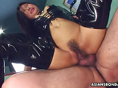Boning her raw cunt as she wears her PVC