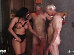 Domme Carly feeds cuckold sub her torrid sultry pussy
