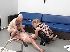 Busting veras nut sack with spiked