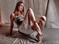 Provocative jute trussed ankle in dark-hued and  clothes