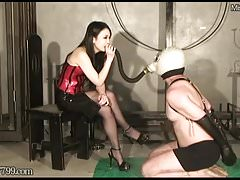 Dominant Mistress Saran Smoking and Cock ball torture