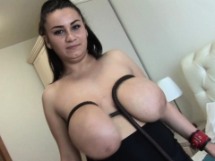 Helen Star busty honey smacking her hefty breasts and arse
