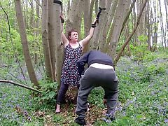 Mature Little Titty Slut Roped  & Humiliated in the Woods