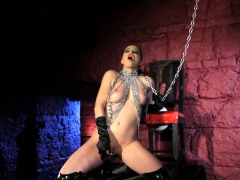 Huge-chested domina beauty frolicking her cooch