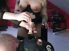 Dominatrix No.1 rewards her gimp with a super-hot slavegirl