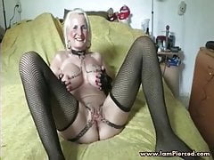 Iam Pierced granny pith  piercing and chain Super super-naughty