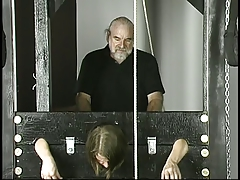 Old  boinks youthfull  with  breasts jailed in stocks