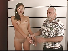 Arrested youthfull brunette takes off for old stud and flash her opened puss