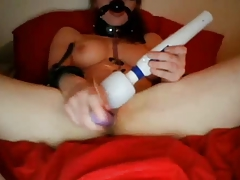 Masked, chains and forceps on   on web cam