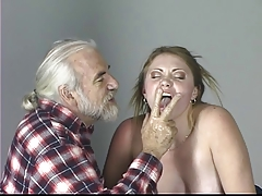 Blondie slave tastes her ass juice after   on the punishment table