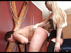 Blondie Russian domme trample with belt cock