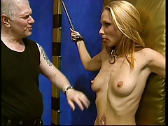blond strapped by her sir and