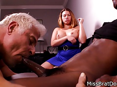 Bi Spouse Fellates Dark-hued Cock for Female dom Wifey