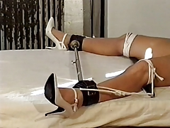 Hottie with marvelous tits, bound to the  while her tits are taunted