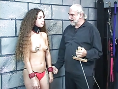 Small-titted collared bondage & discipline black-haired gets her  clamped and pulled
