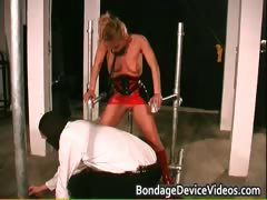 Foxy ash-blonde  gets roped and slapped part4