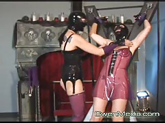 January Seraph and Karrlie Dawn Female domination Spandex Flogging