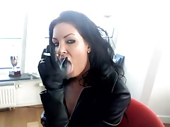 Smoking black-haired - leather jacket