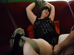 Strapped up and eyes covered chick played to a groaning orgasm