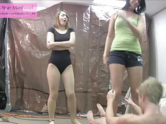 evil NOT siblings 2 punching balls ballerina leotard pantyhose