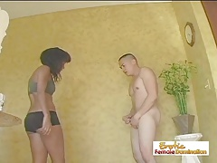 Black  Deep-throats Cock And Torments Her Plumber